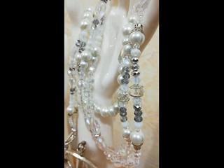 Lazo de boda matrimonial con perlas y cristales